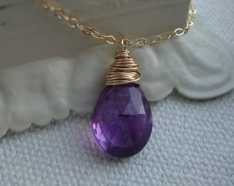 Amethyst Necklace - Solitaire- all Gold Filled - elegant simple classic design by lizix26