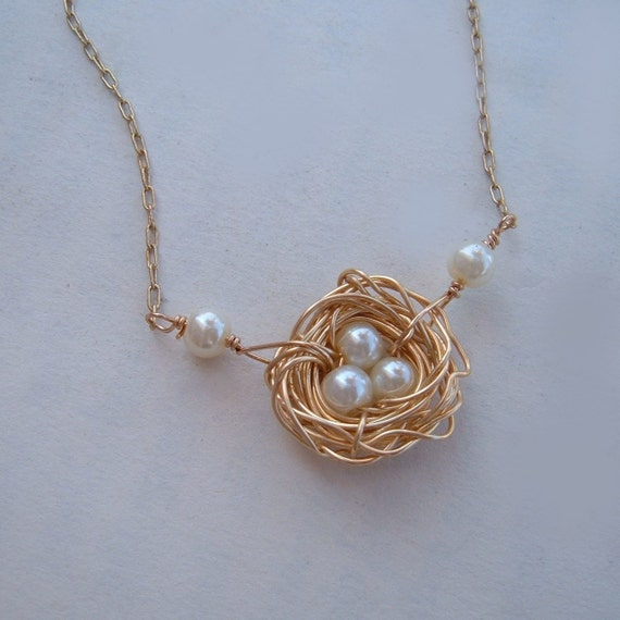 Rustic Nest in Gold 14Kt. Gold filled chain