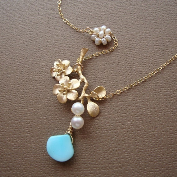 Gold Cherry Branch Necklace -BRANCH OF HOPE- on 14kt Gold Filled Chain with Fresh Water Pearls by lizix26