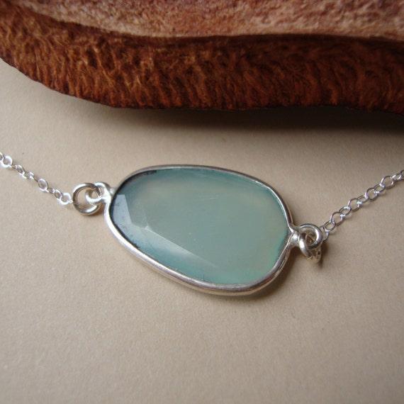 Chalcedony Necklace, Sterling Silver, stone connector, everyday dainty jewelry, bezel set Chalcedony stone