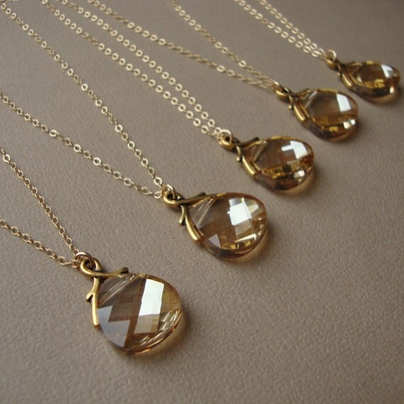 Bridal Necklaces Set of Four, gold filled, wedding gift, bridesmaids, Swarovski crystal pendants, bridal party, maid of honor