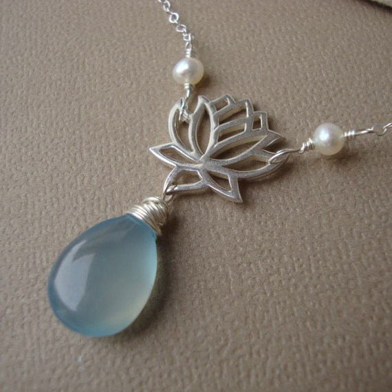Lotus Necklace - Sky Blue Chalcedony, Yoga Jewelry,Lotus Flower Necklace,Zen Necklace, Wire Wrapped Stone