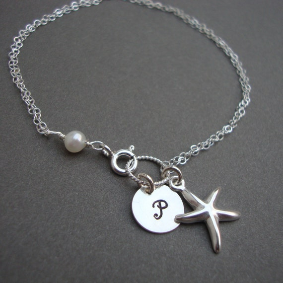 Starfish Bracelet, Sterling Silver Personalized, Beach Wedding, Monogram, Bridesmaids Gifts, Wedding Gift, Anniversary, Gift