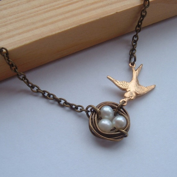 Bird Nest Necklace Antique Brass Fresh Water Pearls