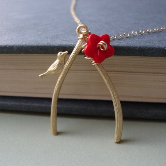 Wishbone Necklace - Gold Filled, Wire Wrapped Red Flower, Simple and Sweet everyday jewelry by lizix26