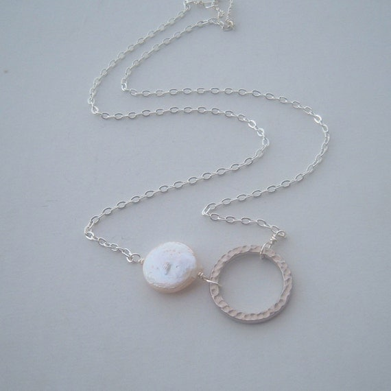 Equilibrium Set- sterling silver, rhodium genuine coin pearl and matching earrings with sterling silver ear wires