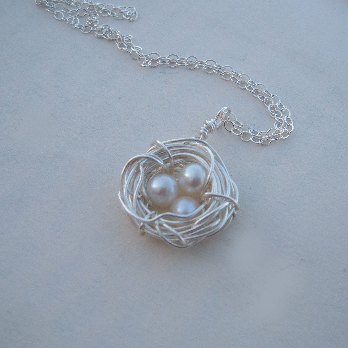 sterling silver bird nest necklace rustic sterling silver