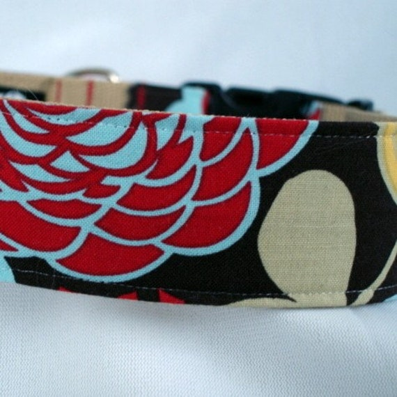 large dog collar - artist's garden - 1.5 inches wide - ready to ship