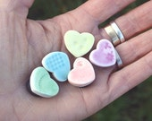 5 Porcelain Mini Heart Magnets