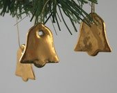 Three Little Gold Porcelain Bell Decorations, Wedding Ornament, Favor, Hand Painted Real Gold Lustre, Vintage Metal Thread