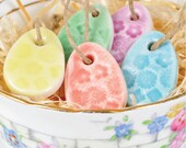 5 Mini Easter Egg Decorations, porcelain candy colours
