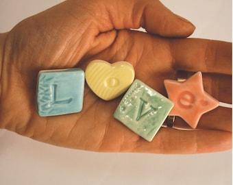 Porcelain 'Love' Letter Fridge Magnets