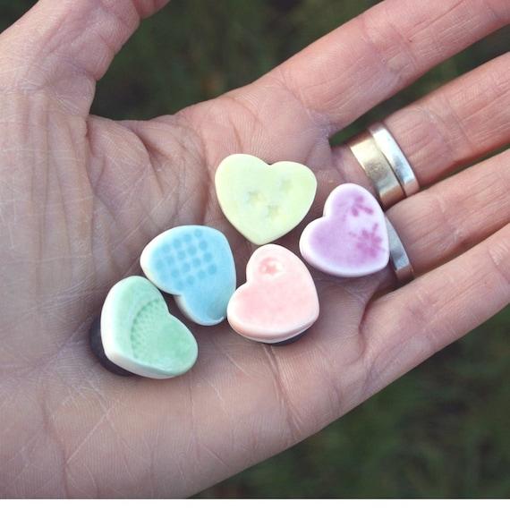 5 Porcelain Mini Heart Magnets
