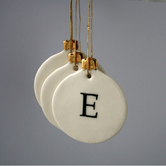 Personalized letter christmas bauble ornament by joheckett for Personalised christmas decorations