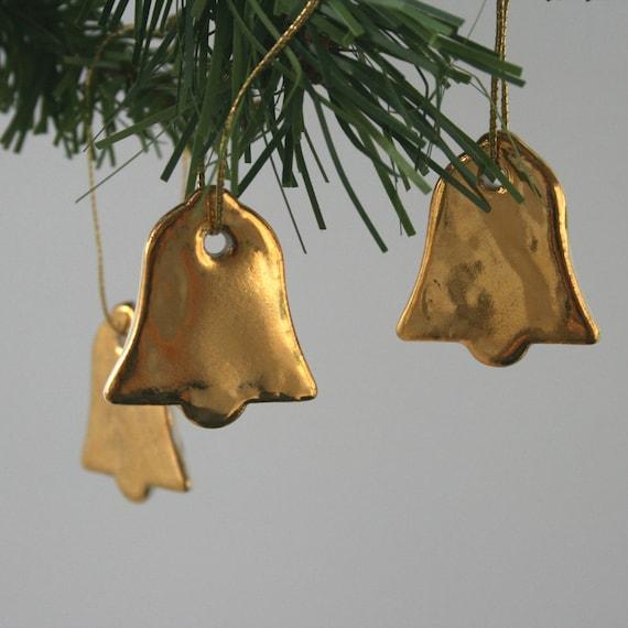 Gold Wedding Bells: Three Little Gold Porcelain Bell Decorations Wedding By