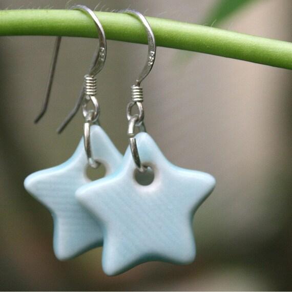 Soft Turquoise Porcelain Star Earrings Sample SALE