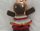 hand knit cuddly waldorf doll recycled yarn fiber-taking custom orders