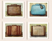 Four Vintage Suitcases  - 8x10 Print Set