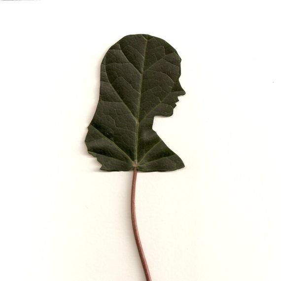 Custom Freehand Leaf Silhouette Portrait