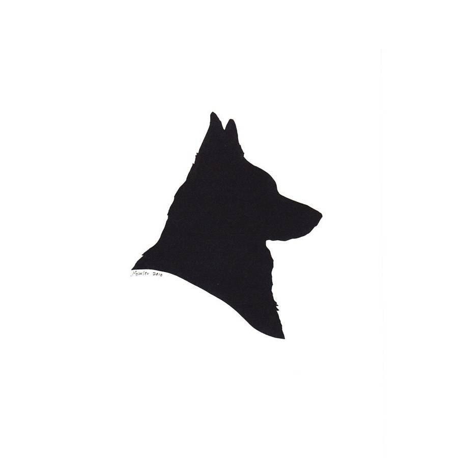 Custom Silhouette Portrait Papercutting of a Canine Friend