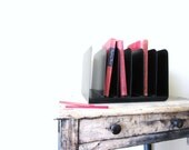 Reserved for Maud - Vintage Industrial Metal Desk Top File or Organizers, Tape Measure, and