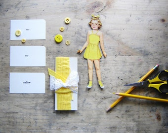 Vintage Paper Doll and Flash Cards Set, DIY Baby Nursery Decor, Children's Bedroom Decor