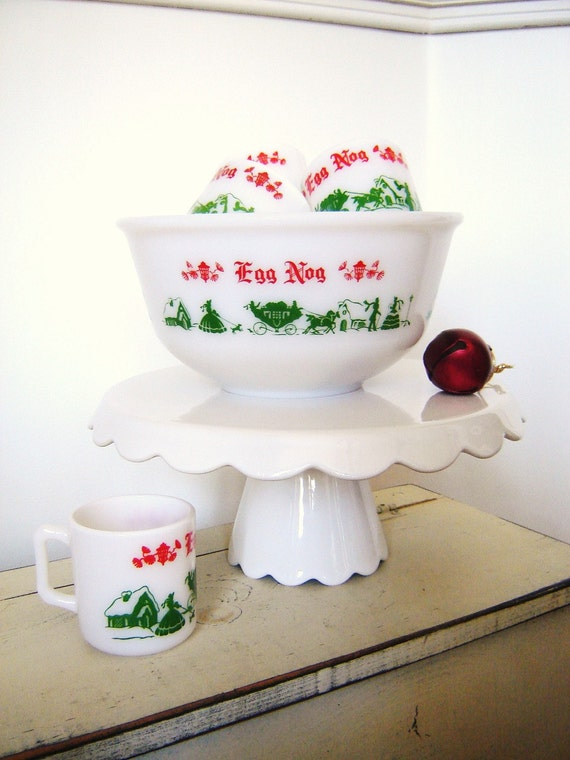 Vintage Holiday Egg Nog Hazel Atlas Glass Bowl and Mugs Christmas Set