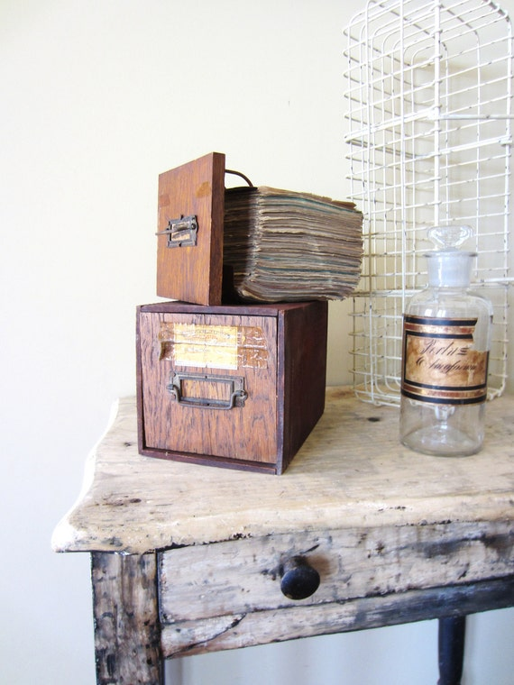 Vintage Industrial 1950's Wood Apothecary Perscriptions Box