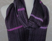 Flecked Shades of Purple with Black Handwoven Scarf