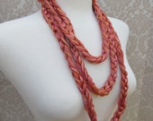Extra Long Shades of Orange and Pink Crocheted Yarn Necklace