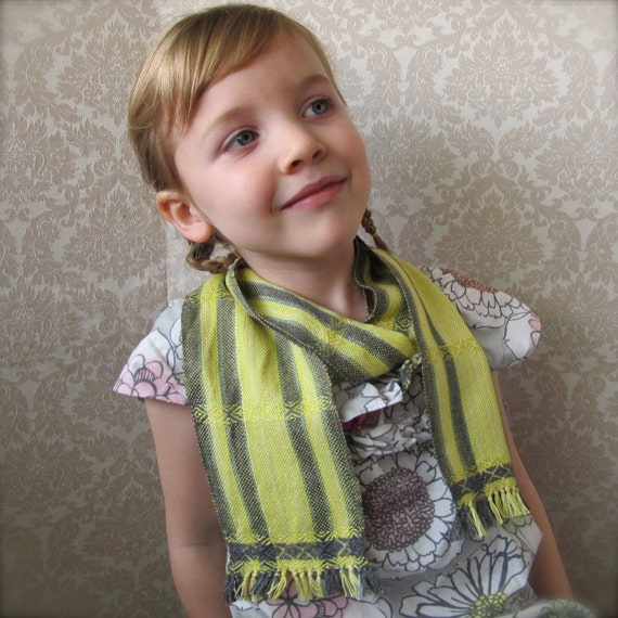 RESERVED-Yellow and Gray Stripes Handwoven Baby or Me Scarf-RESERVED for Denise