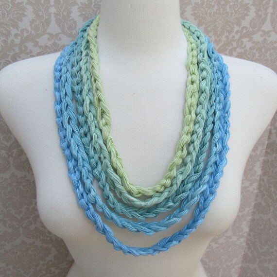 Linen Five Blue to Green Crocheted Yarn Necklace