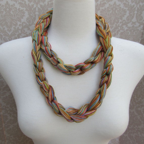 Shades of Spring Crocheted Yarn Necklace