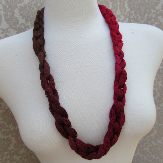 Fuchsia to Brown Crocheted Yarn Necklace