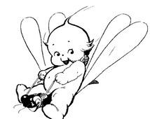 Vintage Kewpie on Dragonfly Rubber Stamp WM