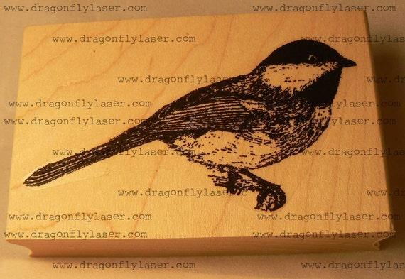 P39 Chickadee bird rubber stamp WM