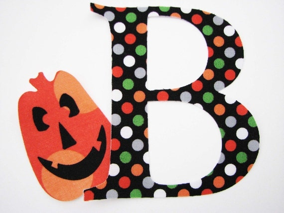 HALLOWEEN Applique - Grande Chic Letter with SPOOKY Accent, Fabric Applique - Iron On, DIY, No Sew - You Pick The Print