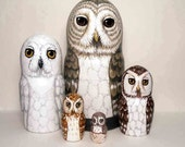 Nesting Doll Owls - Set of 5 - Woodland Spirits