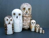 Nesting Doll Owls- Set of 7- Creatures of Twilight