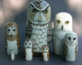 Nesting Doll Owls- Set of 7- Creatures of The Moon and Night