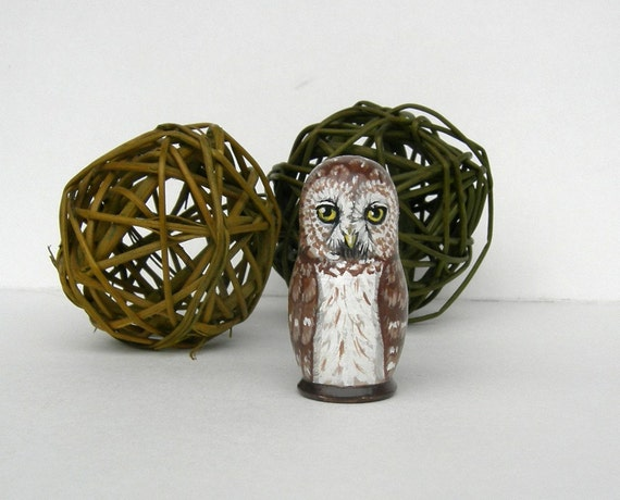 Tiny Brown Owl Handpainted  Wooden Figure