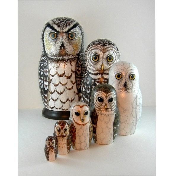 Nesting Doll Owls - Set of 7 - From The Darkness