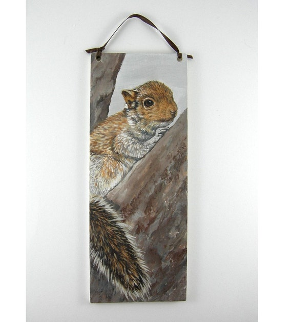 Baby Squirrel Painting on Wooden Plaque