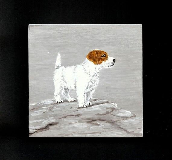 Jack Russell Painting Original Acrylic 4 x 4