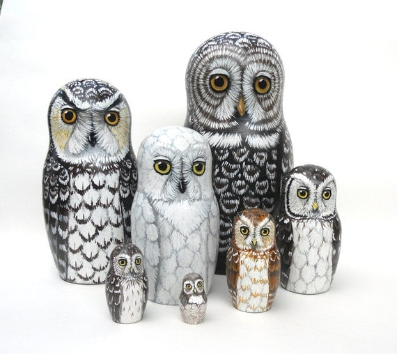 Russian Nesting Dolls Owls Nesting Doll Owls Set of 7