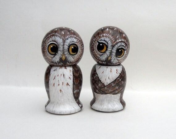 Brown Owl Cake Topper Kokeshi Dolls