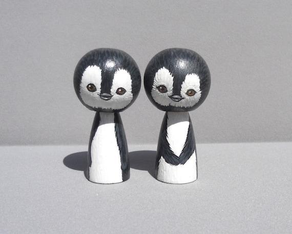 Penguin Wedding Cake Topper Kokeshi Dolls