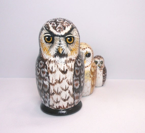 Matryoshka Owls Nesting Dolls Set of 3