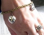 AB Swarovski Crystal Heart and Wolf Charm Bracelet
