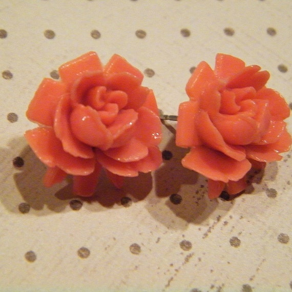 Coral Cabbage Rose Earrings